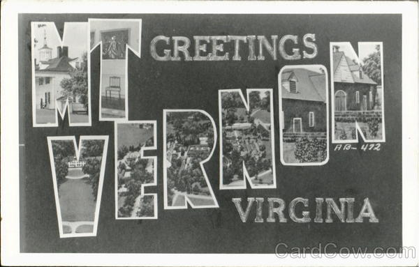 Greetings From Mt. Vernon Virginia Large Letter