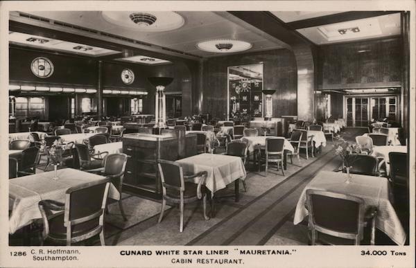 Cabin Restaurant, Cunard White Star Liner Mauretania