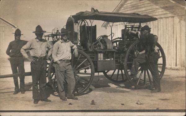 Men (Soldiers?) with Engine, Equipment on Wagon Occupational