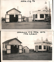 Lot of 2 Photos: Skelly Oil Company Lubrication Service & Gas Station Original Photograph