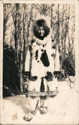 Native Woman in Winter Parka Postcard