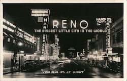Reno The Biggest Little City in the World Virginia St at Night Postcard