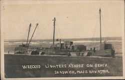Wrecked Lighters Ashore on Beach, Nov. 9th, 1909 Postcard