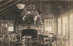 Large Fireplace in Dining Room Angellmere Postcard