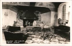 Fireplace at Carlsbad Hotel Postcard
