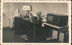 Desk with Lamp and Radio, 1938 Postcard