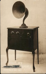 Gramophone Built By Hughes Postcard
