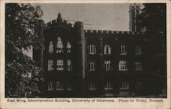 East Wing, Administration Building, University of Oklahoma Postcard