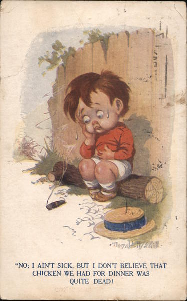Child with Stomach Ache Donald McGill Artist Signed