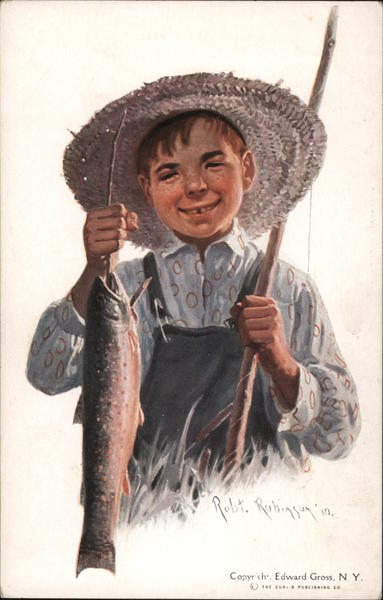 Painting of boy with straw hat and fish he just caught