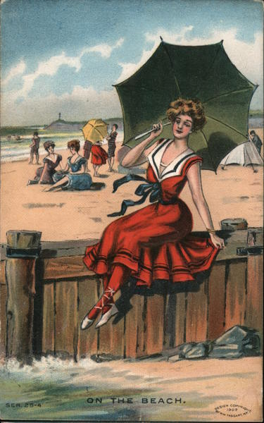 On the Beach - Woman with Umbrella sitting on a fence