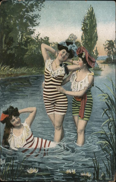 Three women in bathing suits and hats in a lake Swimsuits & Pinup