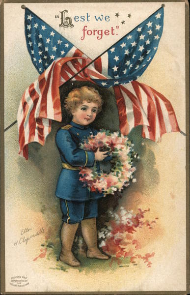 Lest We Forget - a boy holding a memorial wreath of flowers under American flags