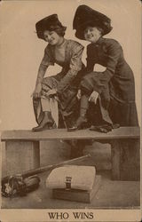 """Who Wins"" Two Women Exposing Their Ankles on Baseball Bench Postcard"