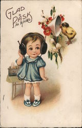 Glad Påsk - Happy Easter, Girl in Headphones Listens to Bird Chirping Postcard