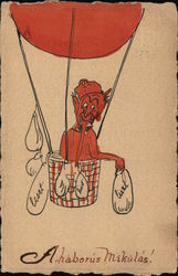 Rare Devil Dropping Sandbags From Hot Air Balloon: Ahaborus Mikulas Postcard