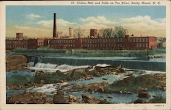 Cotton Mill and Falls on Tar River Postcard