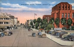Washington Street Divides The City North and South Postcard