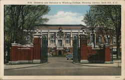 Gateway and Entrance to Winthrop College, Showing Library Postcard