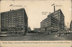 Intersection of Main Street and Douglas Avenue Postcard