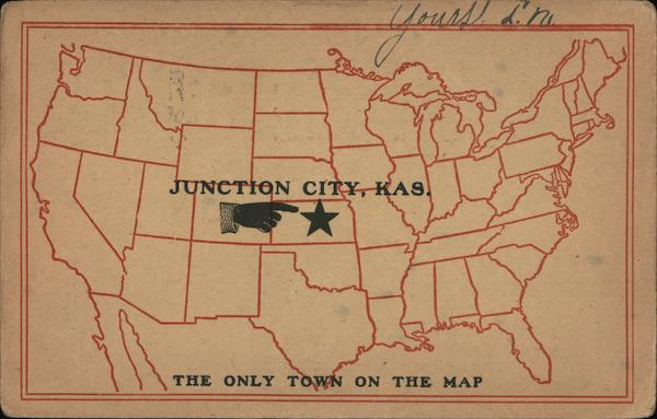 Map of U.S. - Junction City, The Only Town on the Map Kansas