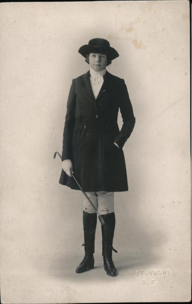 Miss Sue Edna Thorne in Fashionable Equestrian Clothing San Francisco California