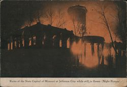 Ruins of the State Capitol while still in flames