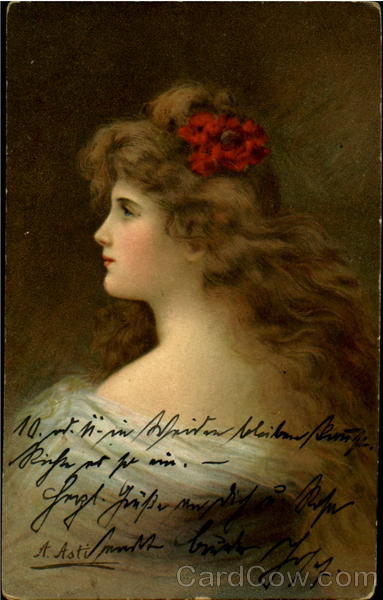 Blond Woman with Red Flower in Hair A. Asti Women