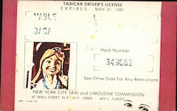 Mable Baca Taxicab Driver's License Postcard
