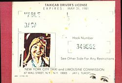 Taxicab Driver's License Postcard