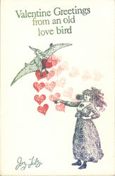 Valentine Greetings from an old Love Bird Postcard