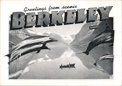 Greetings from Berkeley - Giant Dolphins Fly Over a Rowboat Postcard