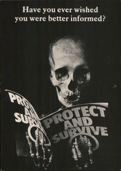 "Skeleton Reading Pamphlet ""Protect and Survive"" Postcard"