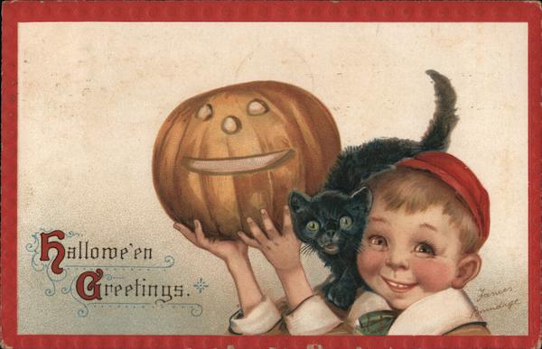 Halloween Greetings Child Holding Pumpkin Frances Brundage