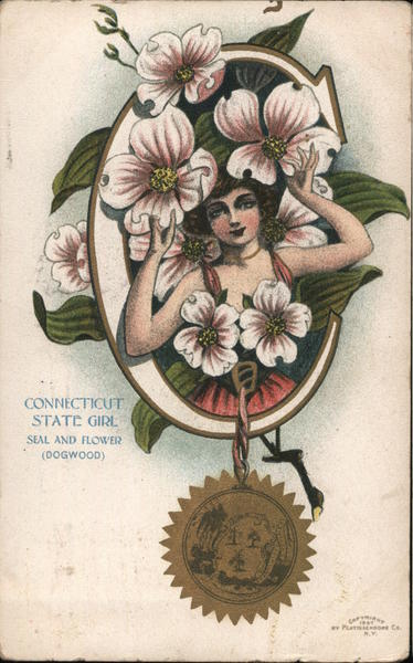 Connecticut State Girl Seal and Flower (Dogwood) State Girls