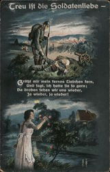 Treu Ift Die Soldatenliebe - Soldier Dreaming Of Girl at Home Postcard