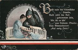 Soldier Romancing Girl on Bench Postcard