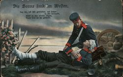 Die Sonne Tank im Weften - Soldier with Wounded Friend Postcard