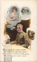 Soldier Dreaming of Girl at Home Postcard
