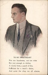 "Profile of Man - ""To My Sweetheart"" Postcard"