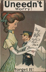 "Telegram from Lover ""My Wife Won't Let Me"" Postcard"