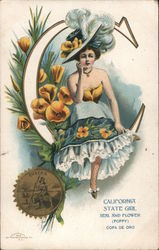 California State Girl with Flower & Seal
