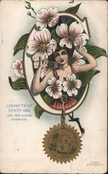 Connecticut State Girl Seal and Flower (Dogwood)