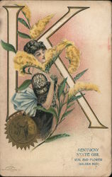 Kentucky State Girl Seal and Flower (Golden Rod)
