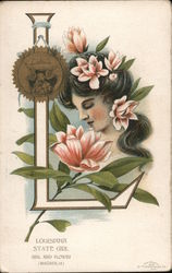 State Girl - Louisiana seal and flower (Magnolia)