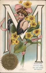 Maryland State Girl Seal and FLower (Buttercup) Postcard