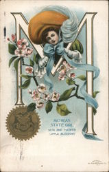 Michigan State Girl Seal and Flower (Apple Blossom)