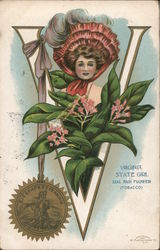 Virginia State Girl with Flower & Seal