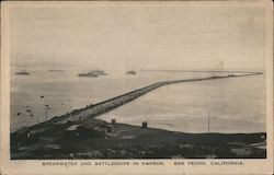 Breakwater and Battleships in Harbor Postcard