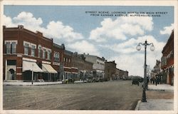 Looking North on Main Street from Kansas Avenue Postcard